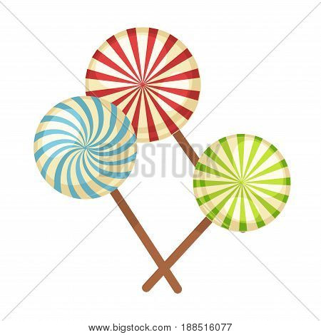 Lollipop or hard candy caramel sweets. Vector isolated flat icons of striped round sweetmeat or candy canes on stick