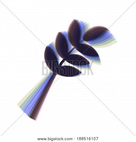 Tree branch sign. Vector. Colorful icon shaked with vertical axis at white background. Isolated.