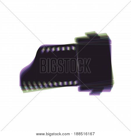 Old photo camera casset sign. Vector. Colorful icon shaked with vertical axis at white background. Isolated.