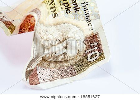Crumpled scottish ten pound note