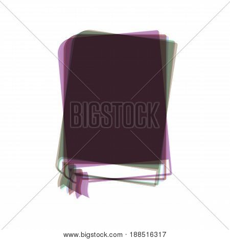 Book sign. Vector. Colorful icon shaked with vertical axis at white background. Isolated.