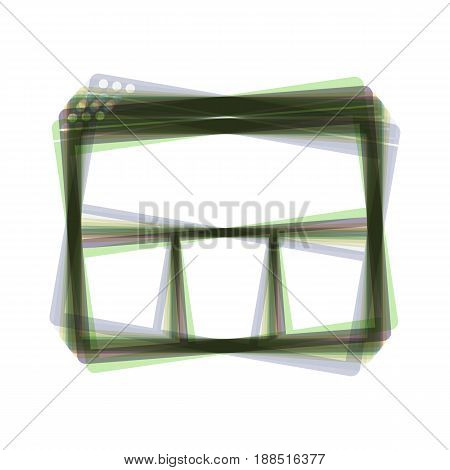 Web window sign. Vector. Colorful icon shaked with vertical axis at white background. Isolated.