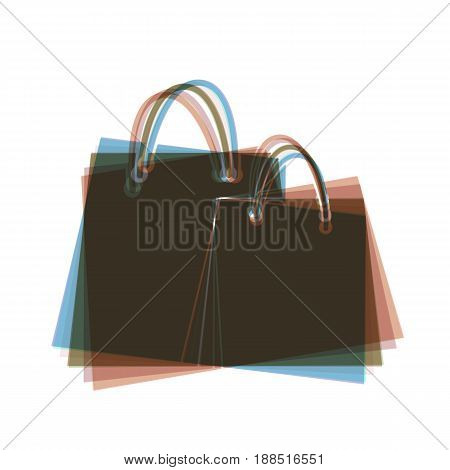 Shopping bags sign. Vector. Colorful icon shaked with vertical axis at white background. Isolated.
