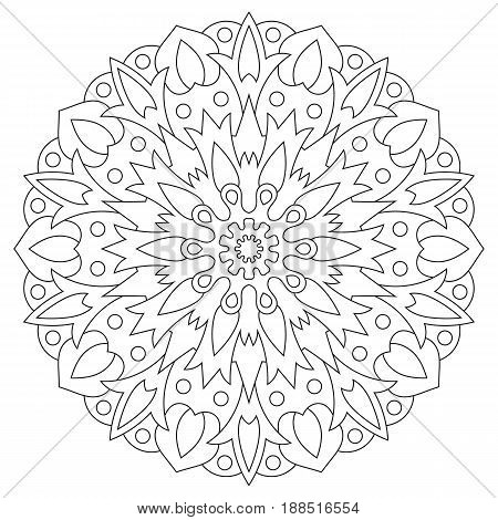 Ethnic element mandala. Circular pattern coloring page for adults.