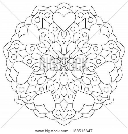 Flower mandala with hearts. Coloring page for Valentine's day.