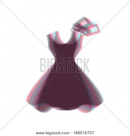 Woman dress sign with tag. Vector. Colorful icon shaked with vertical axis at white background. Isolated.