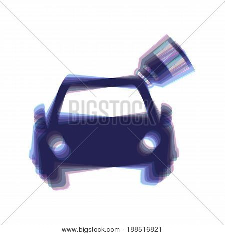 Car sign with tag. Vector. Colorful icon shaked with vertical axis at white background. Isolated.