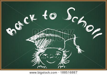 Back to school chalk illustration on green schooboard