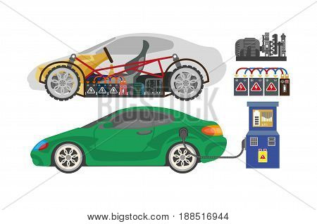 Electrocar or electric car modern automobile vehicle mechanisms and transmission system details. Vector flat icons of accessory parts electro charge station and plug socket, engine battery and gears