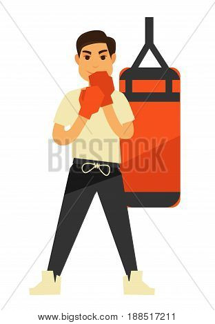 Man boxing punching bag or ball in box gloves. People sport and fitness training exercise for healthy lifestyle. Vector isolated flat icon