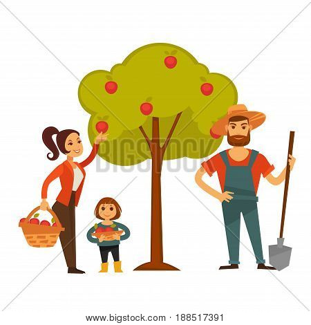 Woman and child gather apples from tree into wicker basket. Farmer man with spade in hat and fruit harvest or farm agriculture concept vector flat illustration