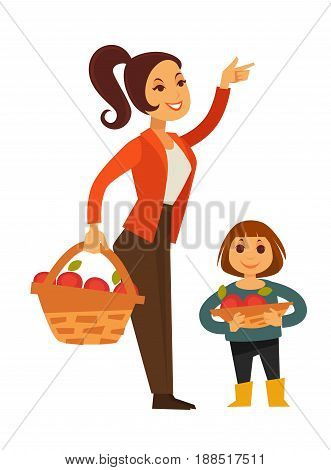 Woman and child gather or pick apples from tree into wicker basket. Farmer harvest or farm agriculture concept vector flat illustration