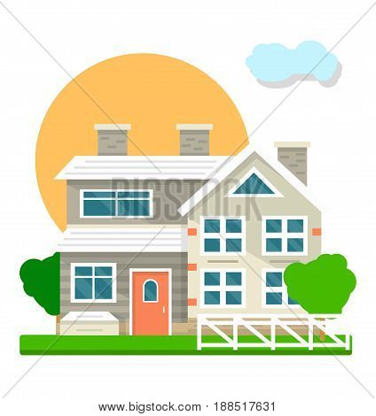 House courtyard view landscape. Vector flat mansion or villa cottage building facade with garden or yard and fence with sun and cloud sky behind