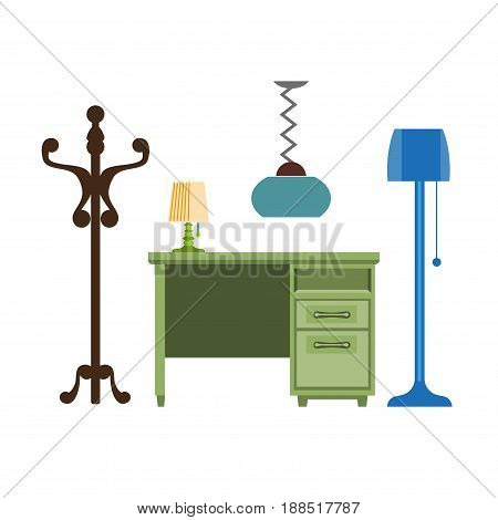 Furniture pieces of chest of drawers or writing table desk, clothes hanger and lamps. Vector flat isolated icons of living room interior