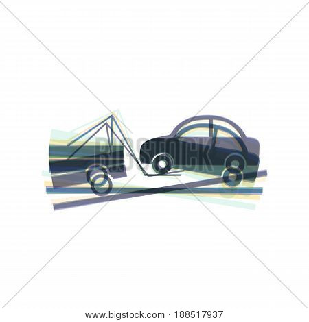Tow truck sign. Vector. Colorful icon shaked with vertical axis at white background. Isolated.