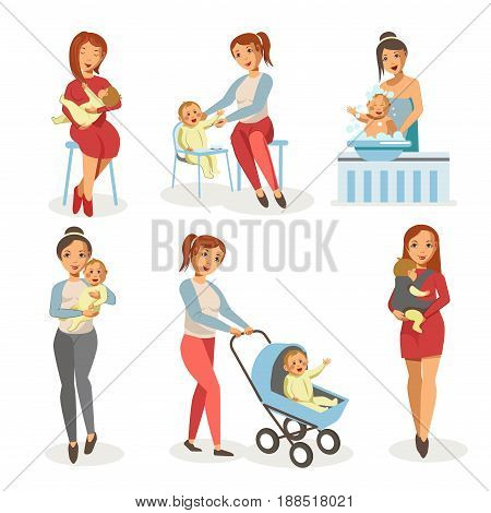 Mother nursing newborn child bathing, feeding or walking in baby carriage and holding on hands. Vector isolated flat icons for motherhood concept