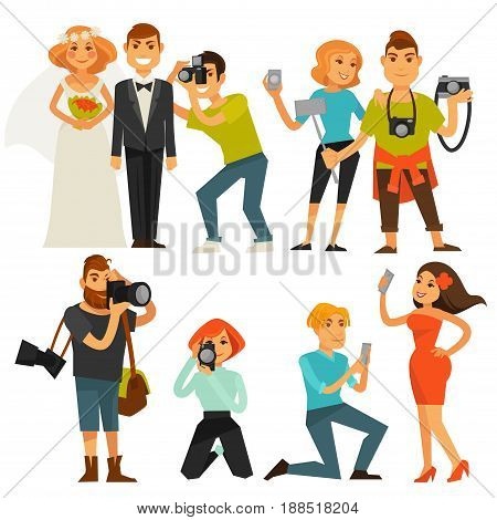 Photographers people taking photograph with camera at travel, on wedding and smartphone selfie or fashion journalist. Vector flat icons of man and woman shoot photo