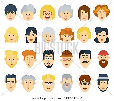 Funny flat avatars icons set. Positive male and female characters. Vector illustration