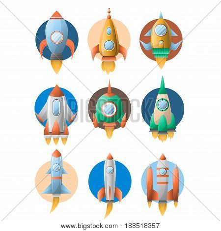 Rockets or spaceship on startup flat icons set. Vector isolated symbols of cartoon spacecraft or space ship launch with engine fire and porthole window