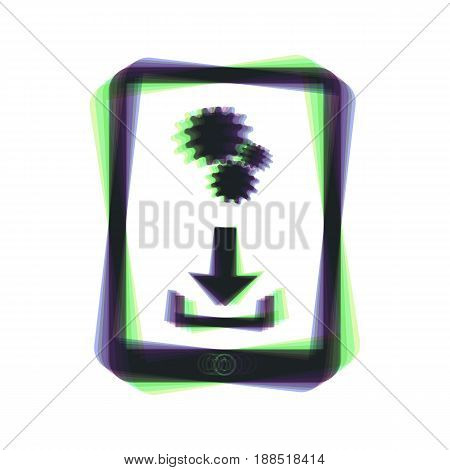 Phone icon with settings symbol. Vector. Colorful icon shaked with vertical axis at white background. Isolated.