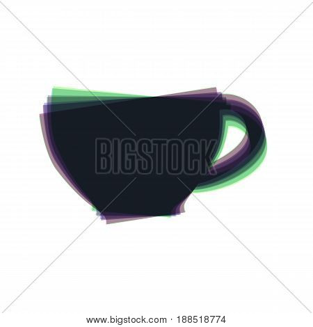 Cup sign. Vector. Colorful icon shaked with vertical axis at white background. Isolated.