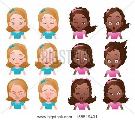 Set of female emoticons or avatars with small caucasian and african girl portraits with different emotions