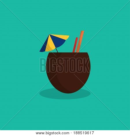 Icon of tropical coconut cocktail on turquoise background Cartoon style Isolated object