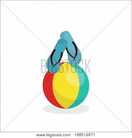 Blue sandals are on the striped beach ball Cartoon style Isolated objects