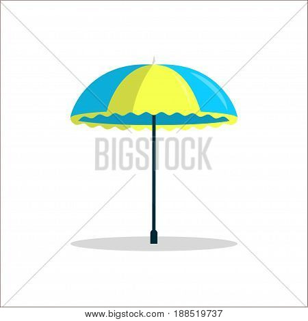 Striped blue and yellow beach umbrella on a white background Cartoon style Isolated object