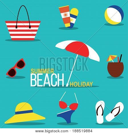 Summer beach holiday Vector illustration Set for beach rest in flat design: beachwear, footwear and accessories Set of icons for relaxing on the beach