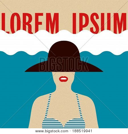 Summer beach girl Girl in a striped swimsuit and in black broad-brimmed hat on a beach background Poster template in retro style Vector illustration