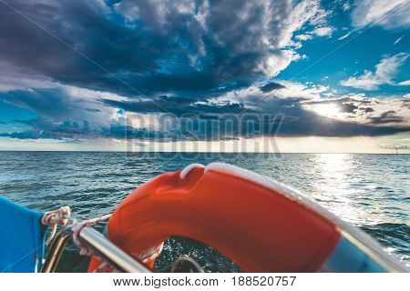 Sea View From Yacht, Sunny Weather
