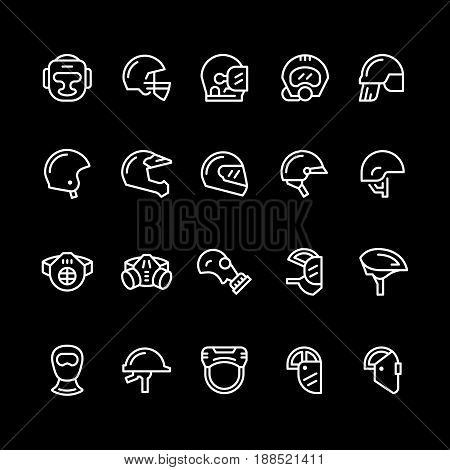 Set line icons of helmets and masks isolated on black. Vector illustration