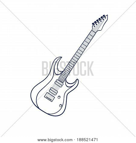 Hand drawn electric guitar Heavy metal style