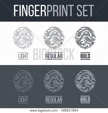 Abstract Fingerprints Set Print for Identity Person on Dark and White Background