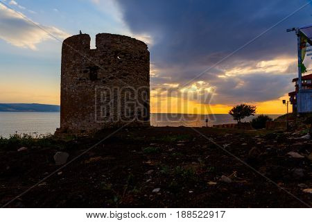 Ruins of the ancient ancient watchtower at seaside Nessebar Bulgaria.