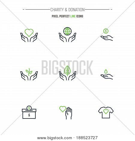 Charity and donation modern thin line pixel perfect vector icon set. Outline symbols and emblem of human hands. Heart globe volunteer logo. nonprofit organizations and charity.