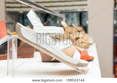 The photo shows the shoes the store