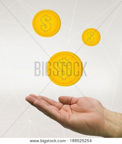 hand holding money coins business concept, in tech