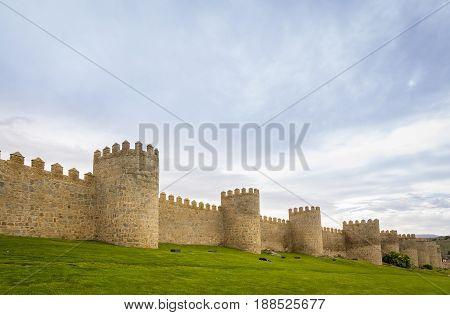 Walls Of The Historic City Of Avila, Castilla Y Leon, Spain