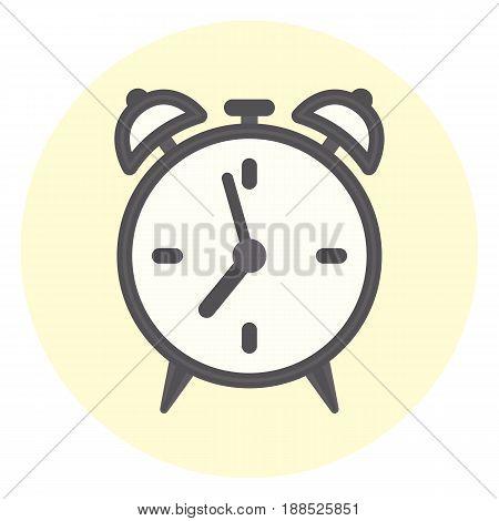 Flat gray outline alarm clock icon time symbol