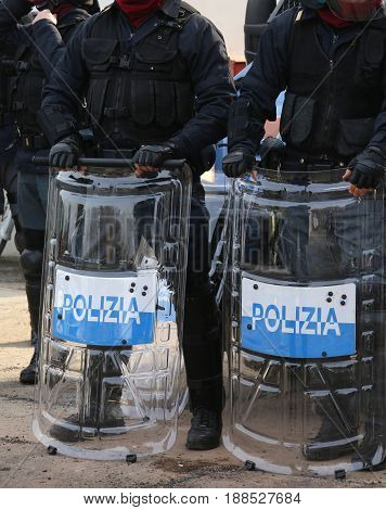 Police With Shields And Riot Gear During The Event In The City