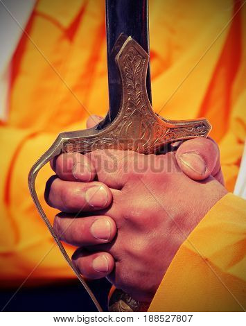 Sword On Hands During The Cerimonial Sikh Event