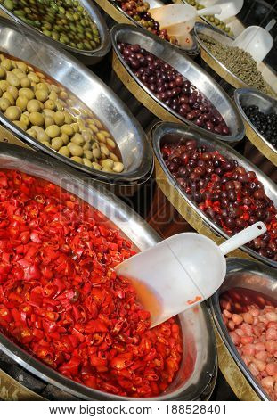 Product Of Lands Of Southern Italy With Olives And Red Peppers W