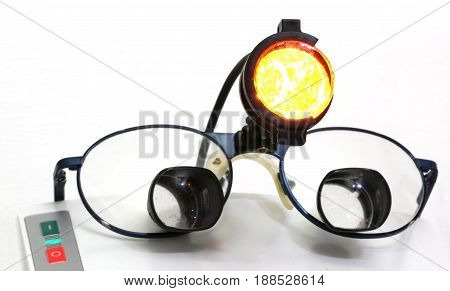 Glasses And An Infrared Light Spot For Chirurgic Operations In S