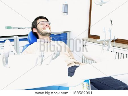 Man In Dental Surgery With Very Bright Ambient Light