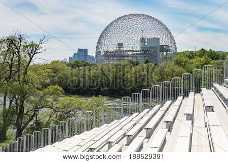 Montreal Skyline And Biosphere In Spring
