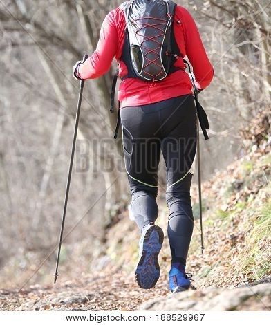 Man Runs On The Mountain Trail With Nordic Walking Poles