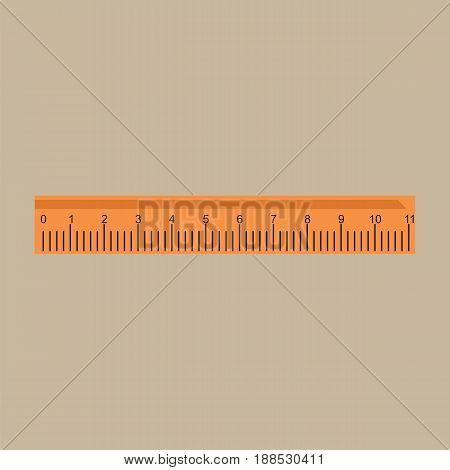 Ruler icon. Ruler symbol. Flat vector illustration.