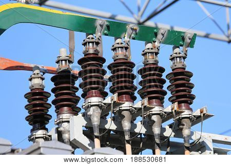 Detail Of The Insulators For The Copper Bars At The Highest Volt